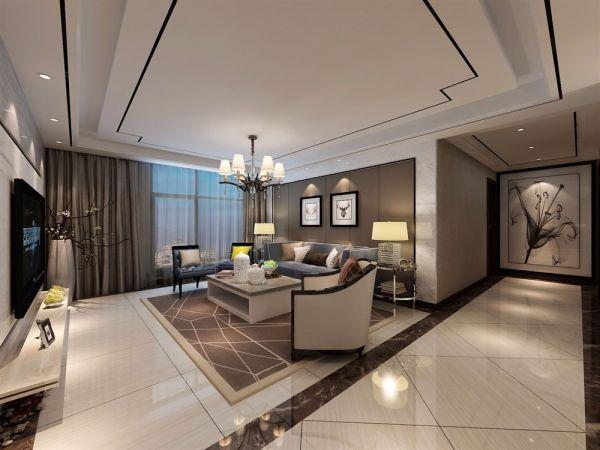 华建雅筑100平方三居现代风格装修效果图