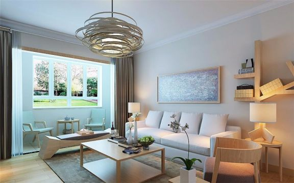 日式风格125平米三室两厅新房装修效果图