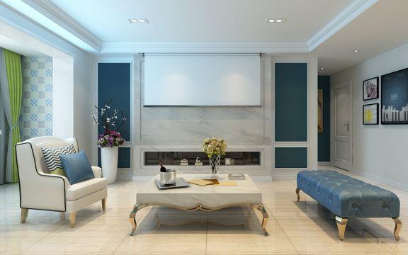 客厅黄色地砖地中海风格装饰设计图片