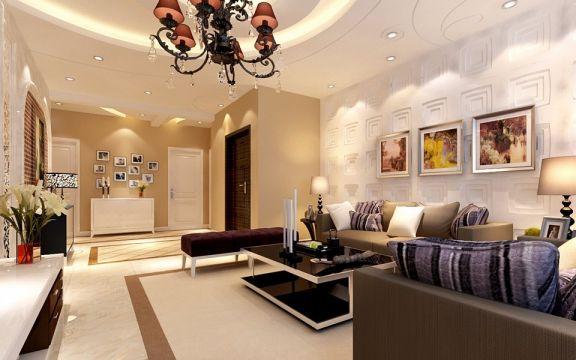 欧式风格128平米三室两厅新房装修效果图