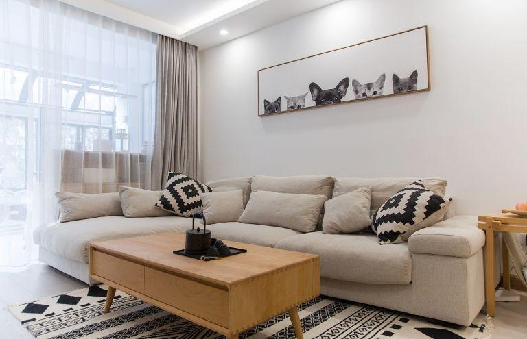 北欧风格104平米三室两厅新房装修效果图