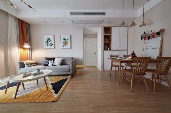 客厅地板砖北欧风格装修设计图片