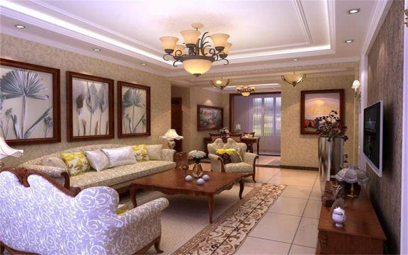 129平米欧式风格三居室装修效果图