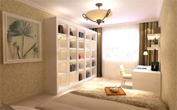 书房书桌欧式风格装潢效果图