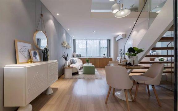 现代简约风格61平米复式新房装修效果图