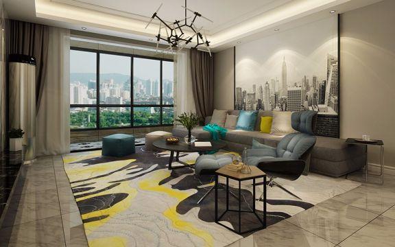现代简约风格180平米三室两厅新房装修效果图