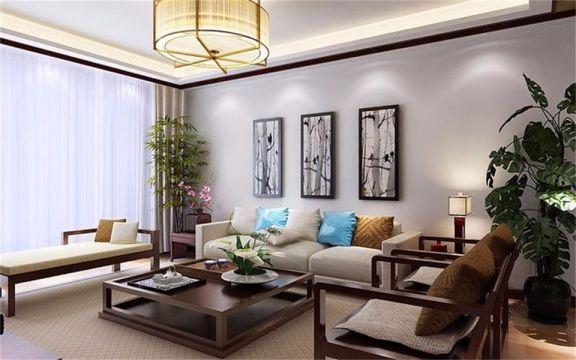 简中风格137平米三室两厅新房装修效果图