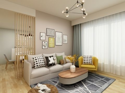 客厅灰色沙发现代简约风格装潢图片