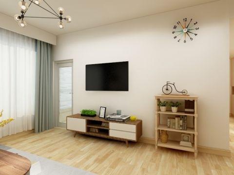 客厅白色电视柜现代简约风格装修设计图片