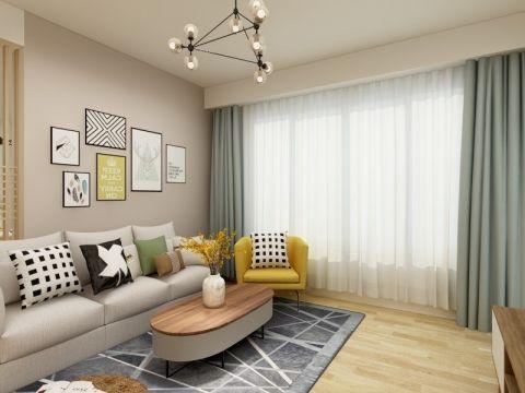 客厅灰色照片墙现代简约风格装饰设计图片