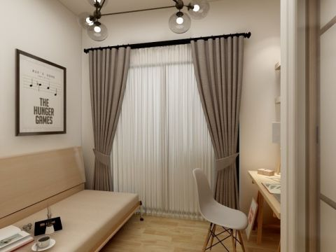 书房灰色窗帘现代简约风格装修图片