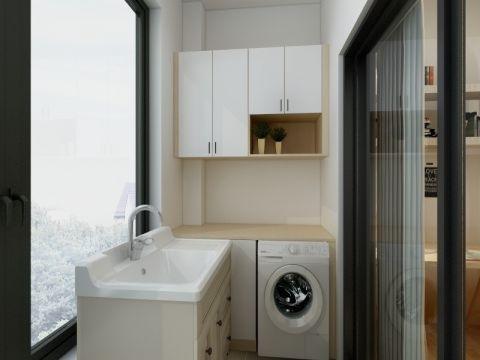 阳台米色洗漱台现代简约风格装修设计图片