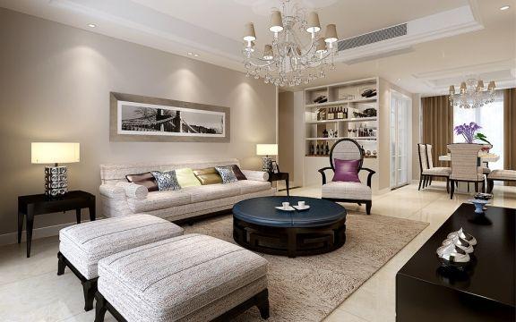 5.5万预算137平米三室两厅装修效果图