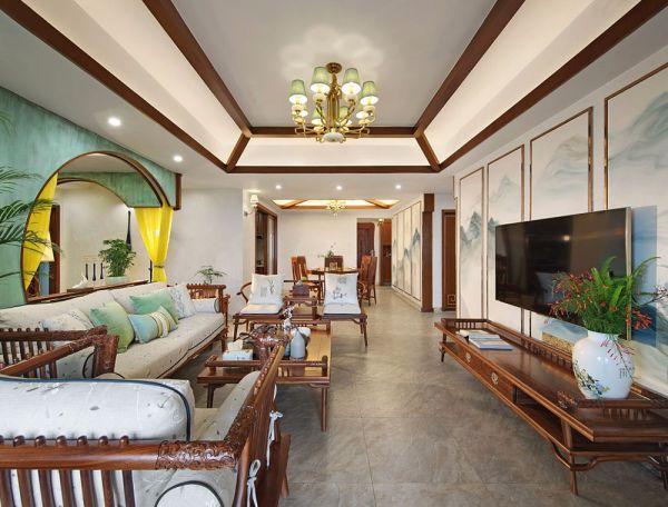 中式复古风格四室两厅154平米装修效果图