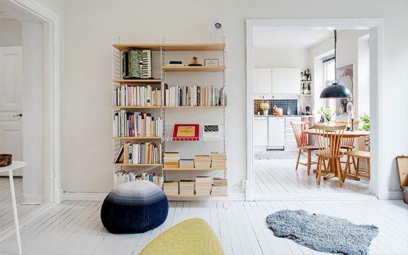 客厅书架简约风格装潢设计图片