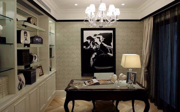文艺咖啡色书桌室内装修图片