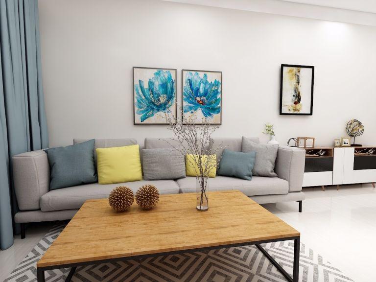 客厅灰色现代简约风格装饰图片