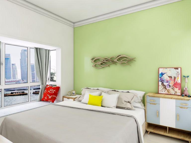 卧室绿色现代简约风格装潢图片