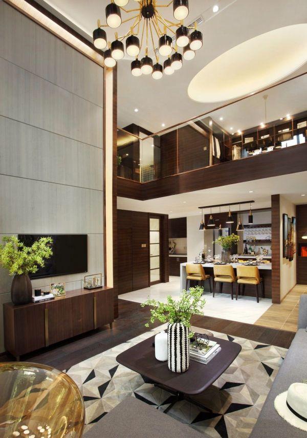 客厅咖啡色电视柜现代简约风格装饰设计图片