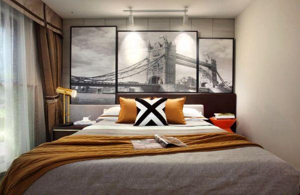 卧室咖啡色窗帘现代简约风格装修效果图