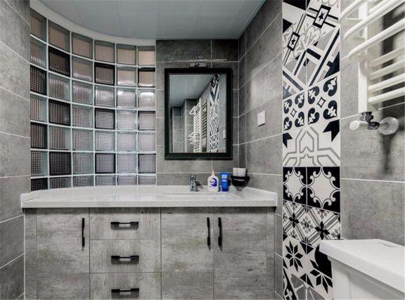 卫生间灰色洗漱台北欧风格装饰图片
