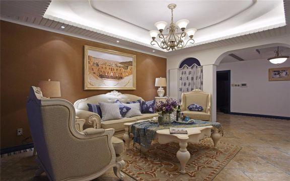 客厅白色地中海风格装饰设计图片
