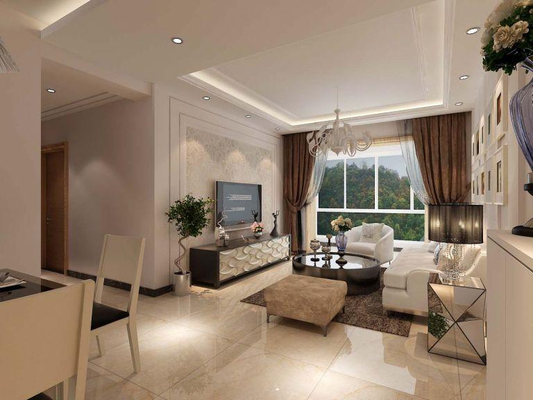 客厅咖啡色窗帘现代简约风格装潢图片
