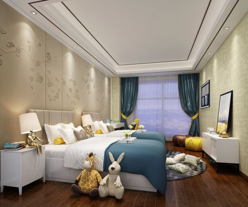 卧室白色床头柜新中式风格装饰设计图片