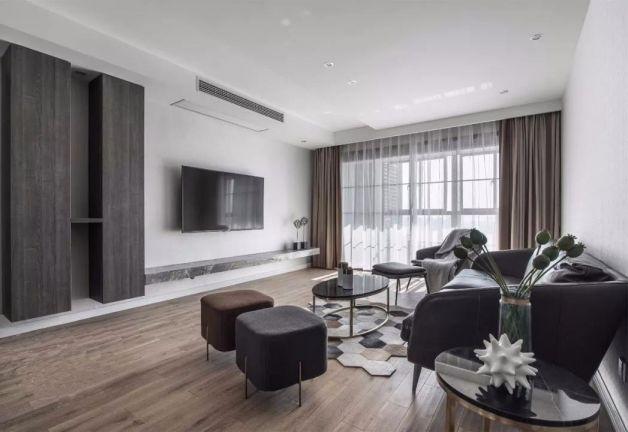客厅黑色茶几现代风格效果图