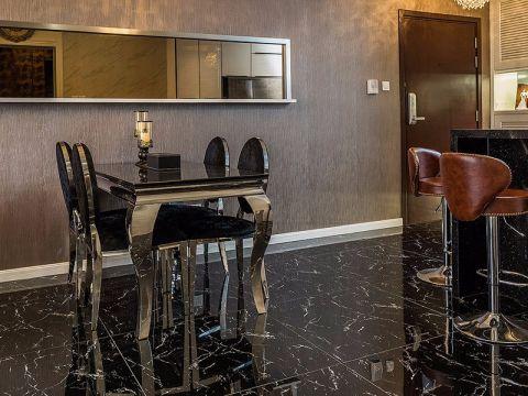 餐厅黑色餐桌欧式风格装潢效果图