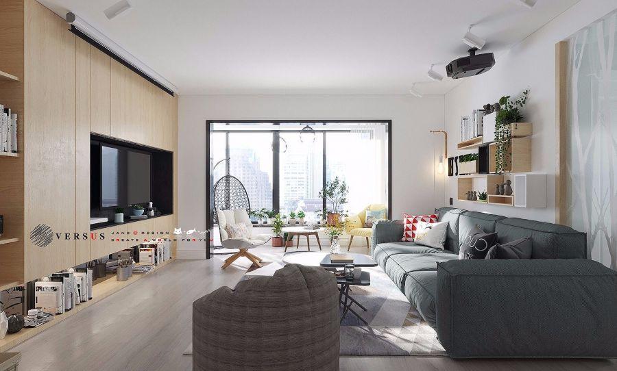客厅彩色背景墙北欧风格装饰图片
