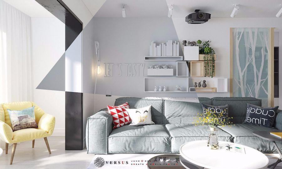 客厅彩色沙发北欧风格装潢图片