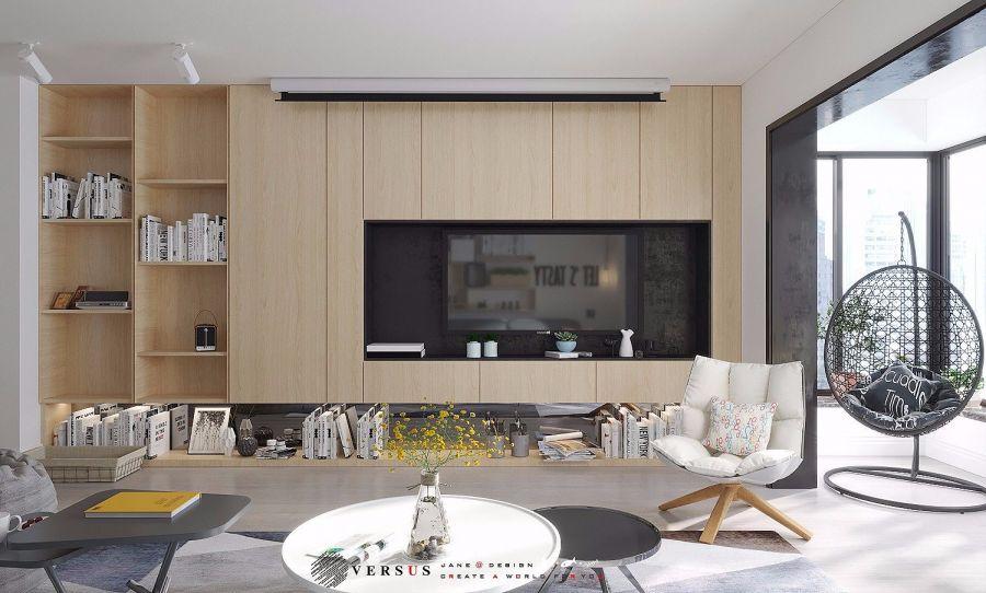 客厅彩色背景墙北欧风格装饰设计图片