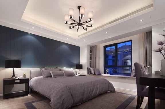 卧室灰色窗帘现代风格效果图