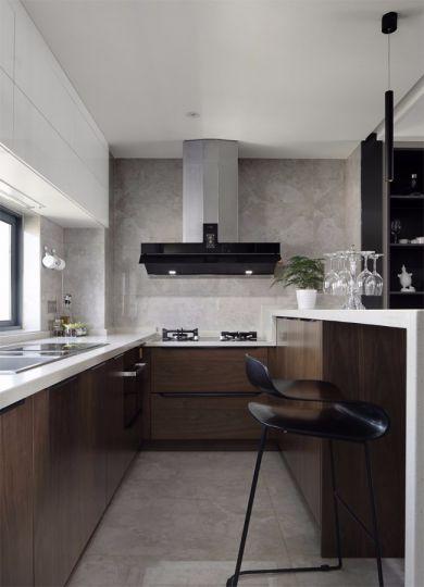 厨房咖啡色橱柜现代简约风格装潢图片
