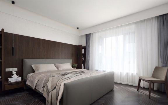卧室灰色床现代简约风格装修设计图片