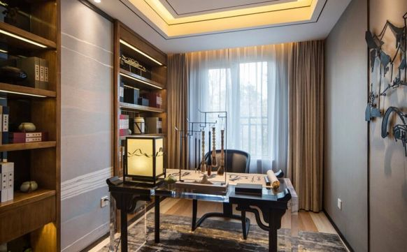 书房黑色书桌中式风格装饰图片