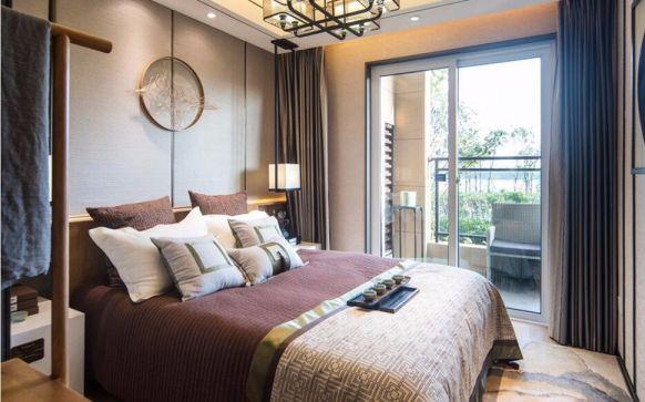 卧室咖啡色窗帘中式风格装潢图片