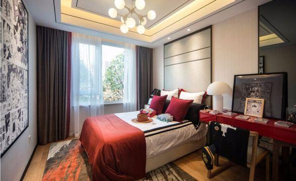 卧室红色书桌中式风格装修设计图片