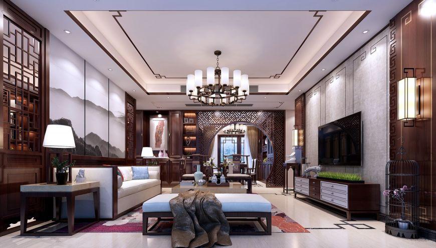 客厅咖啡色电视柜新中式风格装潢设计图片
