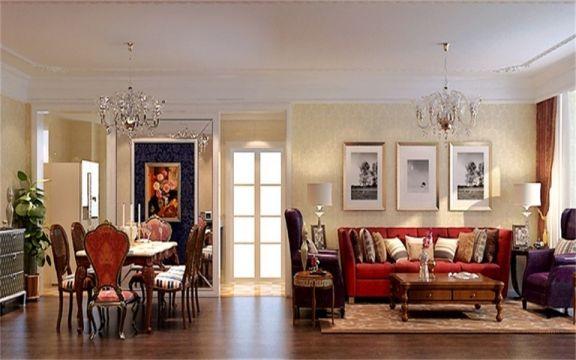 客厅红色沙发欧式风格装潢图片