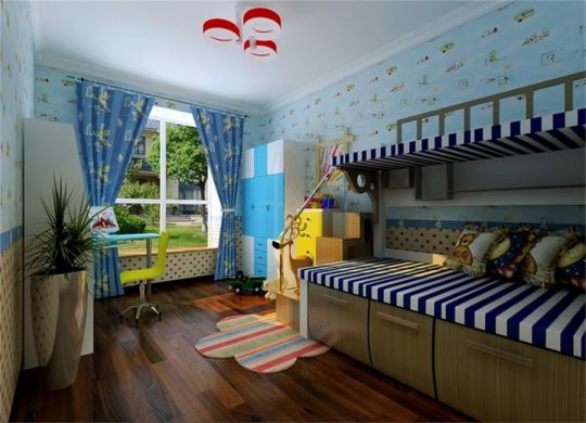 儿童房蓝色窗帘欧式风格装潢设计图片