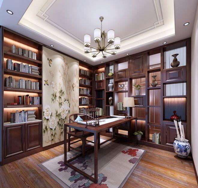 书房白色灯具新中式风格装修效果图