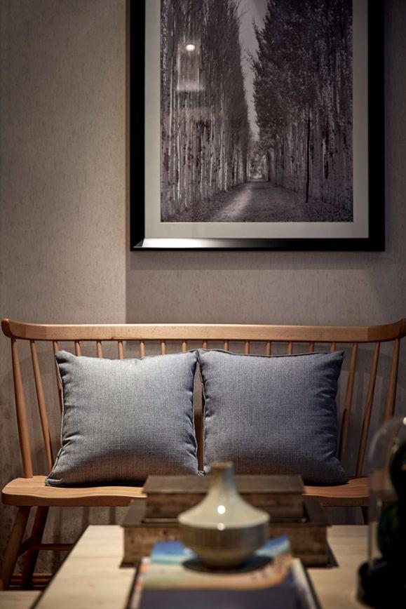 客厅咖啡色茶几现代中式风格装潢设计图片