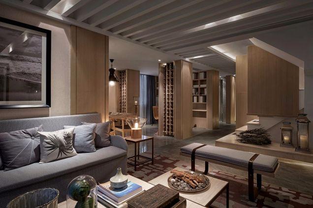 客厅灰色沙发现代中式风格装饰效果图