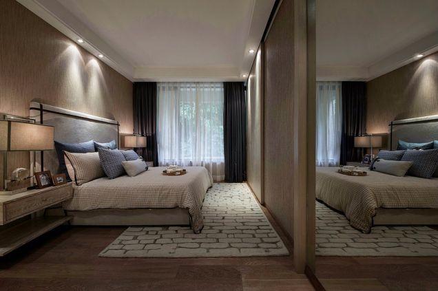 卧室咖啡色床头柜现代中式风格装潢效果图