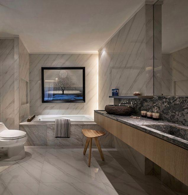 浴室咖啡色洗漱台现代中式风格装修图片