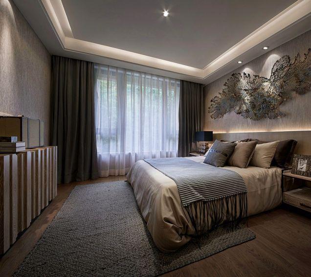 卧室灰色窗帘现代中式风格装饰图片