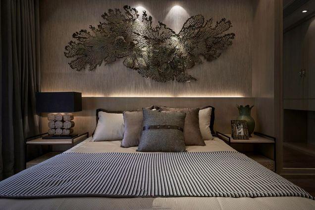 卧室咖啡色背景墙现代中式风格装潢图片