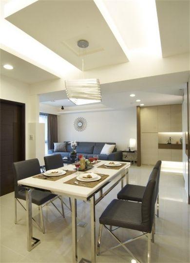 餐厅白色灯具现代简约风格装饰设计图片